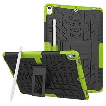 Windpnn Heavy Duty Shockproof Kickstand AntiScratch Dual Layer Protective Case w Pencil Holder for Apple iPad Pro 105 Inch 2017 TabletRed