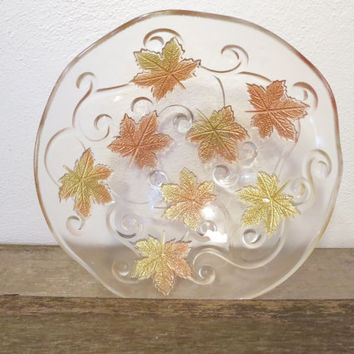 Vintage Glass Maple Leaf Bowl / Glass Bowl Copper Maple Leafs / Boho Bowl / Bohemian Glass Bowl / Maple Leaf Bowl