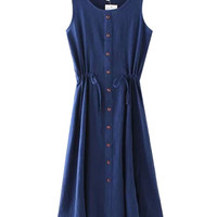 Dark Blue Sleeveless Button Down Sun Dress