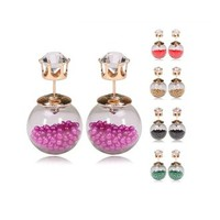 Buy Home Women Hourglass Magic Potion Light Bulb Rhinestone Double Ball Stud Summer Style Two Ways Earrings 2015 New