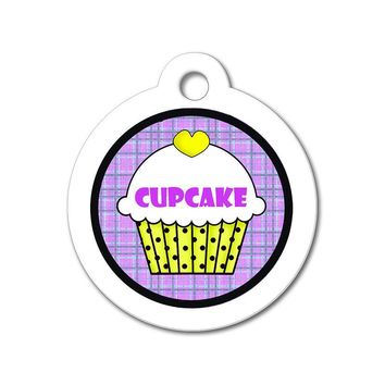 Yellow Cupcake with Purple Pattern - Cute Pet Tag