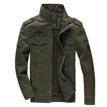 Men jacket jean military army soldier cotton Air force one