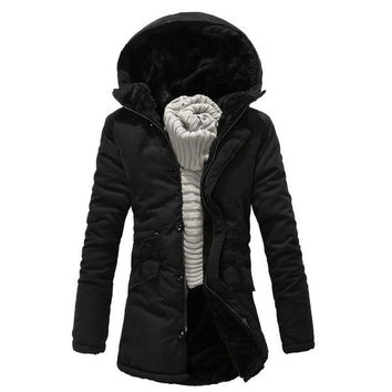 Mens Furry Long Hooded Jacket