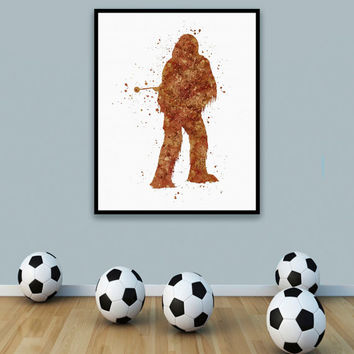 ON SALE: Chewbacca Star Wars Print, Chewbacca Print, Star Wars art, starwars artwork, star wars wall art, Star Wars Decor, Watercolor Artwor