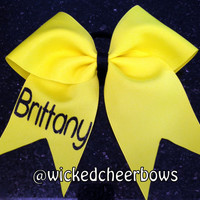 Cheer Bow with Glitter Name - Many Different Colors Available