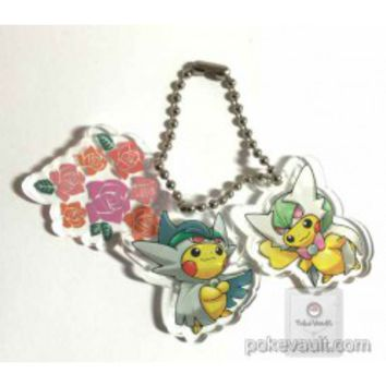 Pokemon Center 2015 Poncho Pikachu Series #1 Mega Gardevoir Mega Gallade Plastic Charm Keychain (Version #8)