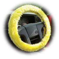 Sunshine Yellow fuzzy faux fur car steering wheel cover furry and fluffy