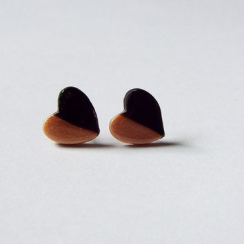 Large Gold and Black Heart Stud Clay Earrings