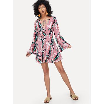Pink Bell Sleeve Floral Print Wrap Dress