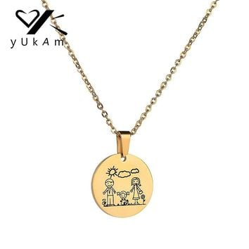 YUKAM Jewelry Gold Stainless Steel Family Love Father Mother Daughter Pendants Necklaces Holiday Kids Necklaces Mothers Day Gift