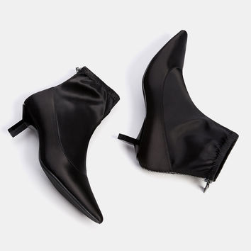 Satin mid heel ankle boots with pointed toes - SHOES - Bershka United Kingdom