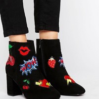 ASOS RISE & SHINE Patchwork Ankle Boots at asos.com