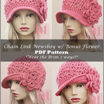 Chain Link Newsboy Hat Crochet Pattern with Bonus Flower  PDF Pattern