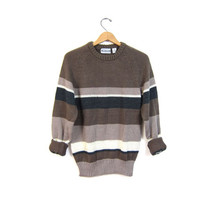 80s slouchy grey brown raglan sweater vintage loose knit striped pullover gray boyfriend retro preppy grunge knit men's medium