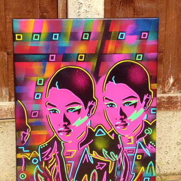 abstract asian punk painting on canvas,stencils & spraypaints,urban,oriental,posca,graphical,europe,android,multicoloured,twins,fine art