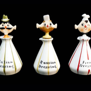 Holt Howard Set, 1959 Salad Dressing, Pixieware Bottles, Kitschy Decor, 1950's Kitsch, Pixie Kitchen Decor, Cooking Gift, Housewarming Gift