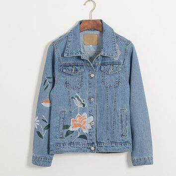 new fashion Women Retro Light dark Blue Casual Denim Coats female Buttons Loose flower Embroidery Jeans Jacket outerwear