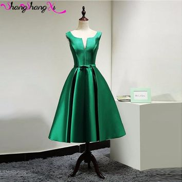 Green Satin Tea-Length Cocktail Dresses Bow Sashes Open Back Short Prom Gowns 2016 Custom DHL Free Shipping SSX322
