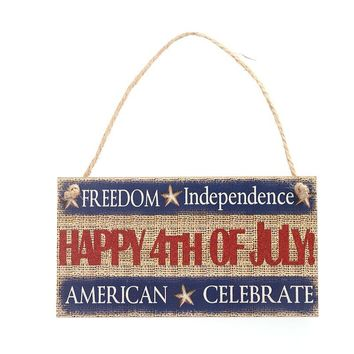 Hanging Sign Decoration Fiberboard For Fourth Of July Party FREEDOM Independence HAPPY 4TH OF JULY AMERICA CELEBRATE