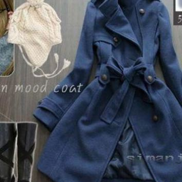 Blue Coat - Women's Korean Style Autumn-Winter Buttoned | UsTrendy