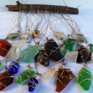 Beach Glass Sun Catcher Driftwood Mobile-Beach Wedding Decor-Seaglass Art-Cobalt Blue Seaglass Unique Wind Chime