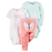 Carter's Girls 3 Piece White Slogan Bodysuit, Light Blue Floral Print Bodysuit and Pink Pant Set with Butterfly Applique