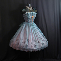 Vintage 1950's 50s Teal Blue Green Flocked Chiffon Organza Party Prom Wedding Dress Gown