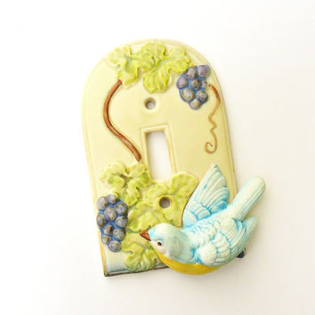 Takahashi Blue Bird Light Switch Plate Cover Grape Vine Vintage Ceramic Switchplate Bird Decor
