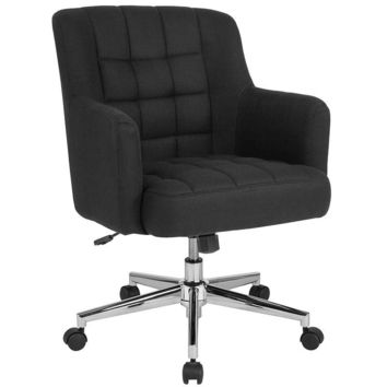 Laone Home and Office Upholstered Mid-Back Chair in Black Fabric [BT-1176-BLK-F-GG]