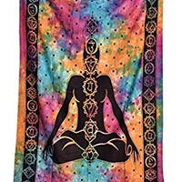Hippie Mandala Yoga Meditation Bohemian Twin Tapestries Psychedelic Intricate Hand Made Tie Dye Design Indian Bedspread Sevan Chakra Magical Thinking Tapestry by Third Eye Export