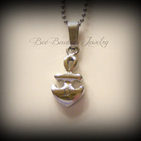 Mothers Day Gift - Hand Stamped Stainless Steel - Anchor Necklace - Initial Necklace