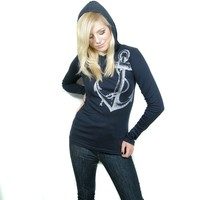 Anchor print hoody sailor nautical top by BetterStayTogether