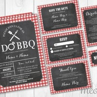 I Do BBQ Wedding Invitations Set Template Red Check Package Printable Invites Save The Date INSTANT DOWNLOAD Directions Customize Editable