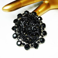 Gothic Black Oval Brooch - Molded Flower Garden and Faceted Chatons in Silvertone Setting - Victorian or Art Nouveau Style