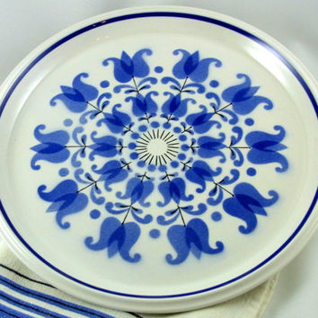 Vintage Mikasa Light N Lively Windmill Chop Plate Platter Retro Blue and White Platter