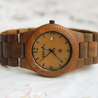 Wooden Watch For Women or Men Sandal Wood Date Thin Watch Wrist Bracelet Quartz Vintage Watch With Calendar Round Dial Gift Waterproof
