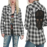 Chemise femme Tops Long Sleeve Plaid Shirts For Women Hipster Novelty Skull Hollow on back Blusa Female magliette donna Shirts