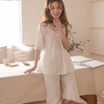 CREYCI7 RenYvtil 2017 Summer Sleep Lounge Sweet Girls Princess Pajamas Sexy Cotton Women Nightgowns With Lace Home Half Sleeve VIVIO