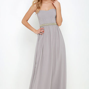 Takes the Cake Taupe Strapless Maxi Dress