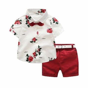 Summer Kids Boys Clothes Set Floral Short Sleeve Shirt Tops+Shorts Pants Outfits