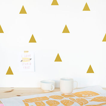 Triangle Wall decal Gold / Wall Triangles Vinyl Sticker / Wall Triangles Home decor / Triangle pattern wall decal / Geometric wall decal