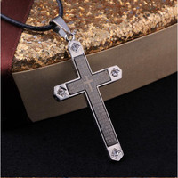 New Arrival Gift Jewelry Stylish Shiny Fashion Cross Rack Titanium Cool Crystal Necklace [6544257347]