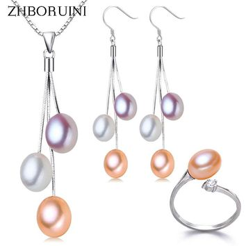 Multicolor Freshwater Pearl Necklace Earrings 925 Sterling Silver Jewelry Set