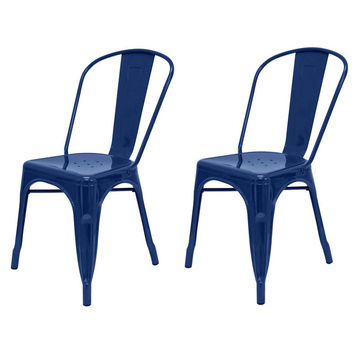 Set of 2 - Navy Blue Galvanized Steel Stacking Dining Side Chair Indoor Outdoor