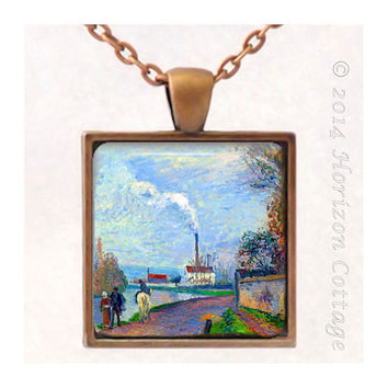 Pissarro - The Oise Near Pontoise in Grey Weather - Old Masters' Classic Artwork - Key Ring or Pendant - Your Choice of Finish