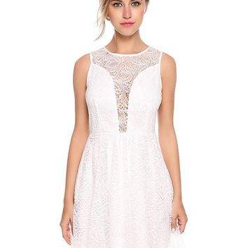 Maya Mini Lace Dress - White
