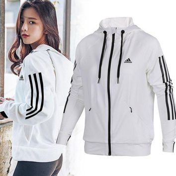 DCCKNQ2 Adidas Women Fashion Hooded Sport Cardigan Jacket Coat Sweatshirt3