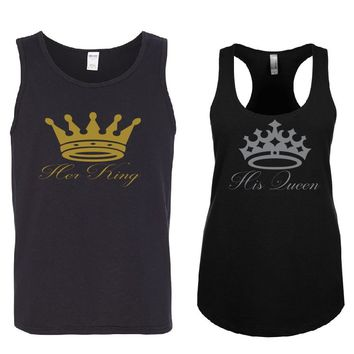 Her KING - His QUEEN Couple Tank Tops + Your NAMES on the back or another text