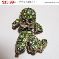CLEARANCE SALE Green Rhinestone Poodle Brooch Pin, Peridot Glass Stones, Red Glass Eyes,  Mid Century Figural Dog Jewelry 717