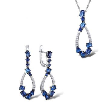 Blue Nano Cubic Zirconia Stones Earrings Pendant Necklace 925 Sterling Silver Jewelry Set